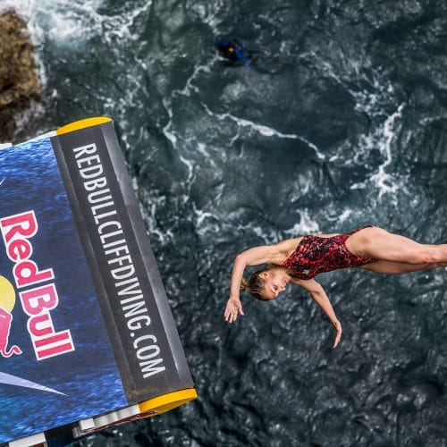 Lysanne Richard of Canada dives from the 20 platform during the second round of the fifth stop of the Red Bull Cliff Diving World Series, Islet Franco do Campo, Azores, Portugal on July 17th 2015. // Romina Amato/Red Bull Content Pool