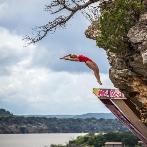 Lysanne Richard of Canada dives from the 20 metre platform on Devil's Island during the first rounds of the first stop of the Red Bull Cliff Diving World Series, Possum Kingdom Lake, Texas, USA on June 3 2016. // Romina Amato/Red Bull Content Pool